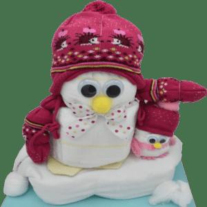 Windelgeschenk Pinguin rosa