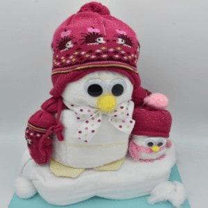 baby geschenk pinguin rosa