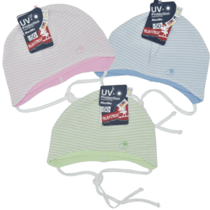gestreifte Babymütze in grün, rosa oder blau