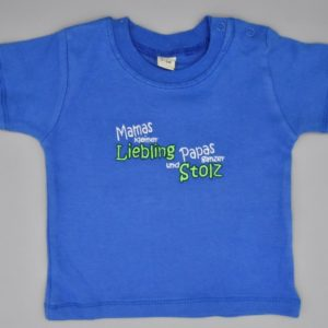 Baby T-Shirt Liebling blau 3-6 Monate