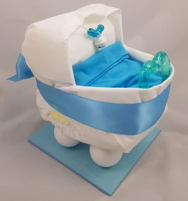 Windel Babygeschenk Kinderwagen blau