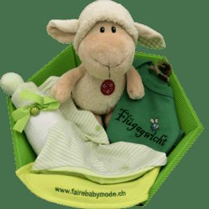 Baby Geschenkkorb grün schaf