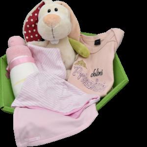 Baby Geschenkkorb mädchen rosa hase