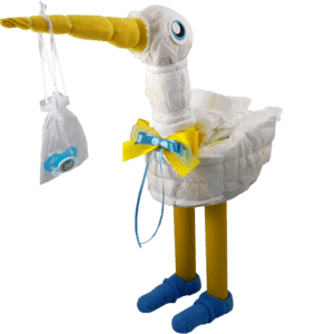 Babygeschenk Windelstorch blau